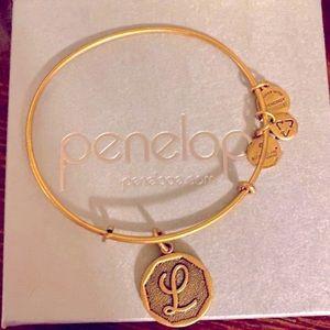 "NWOT Alex & Ani Letter Inital ""L"" Bracelet Gold"